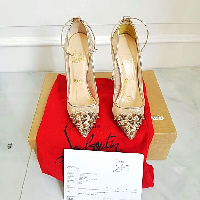 Pre❤️ CHRISTIAN LOUBOUTIN LACE WITH CRYSTAL With Receipt, Dustbag, Box, Paperbag Size 35