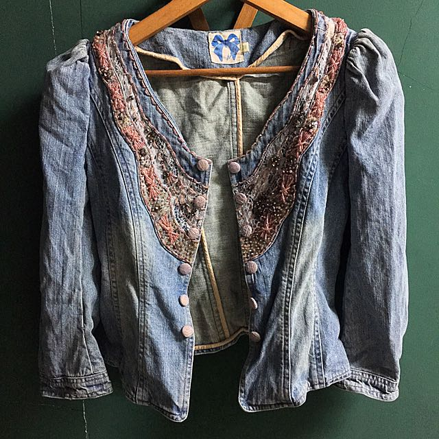 Preloved Beaded Denim Jacket