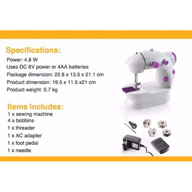 Preloved Portable Household use Multi Function Mini Sewing Machine BC-202 with Dual Speed,