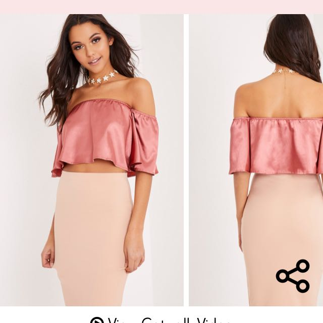 e142bd50666 prettylittlething pretty little thing dusty pink rose satin bardot crop top  off the shoulder, Women's Fashion, Clothes on Carousell