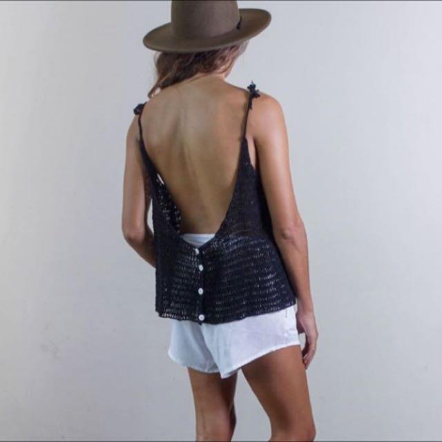 Rue Stiic Designer Black Crochet Adjustable Singlet