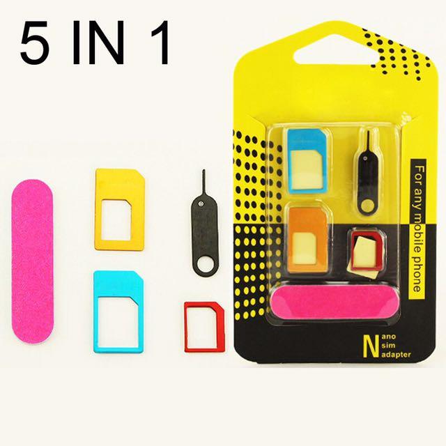 SIM card ADAPTOR 5 in 1 NANO set tools kit
