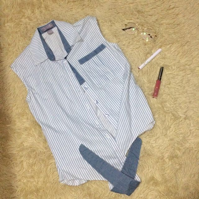 Striped Sleeveless Top With Ribbon