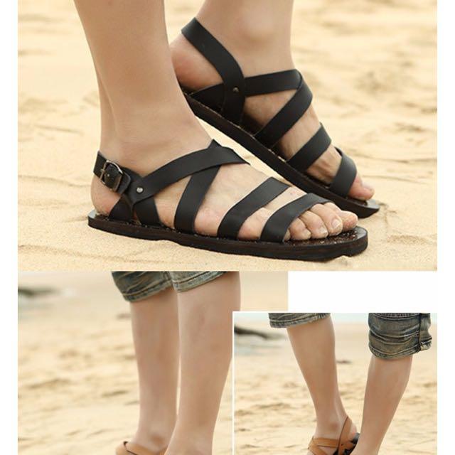 7c0be32b582f Summer Men Sandals Leather Vintage Flat Heel Solid Buckle Beach ...