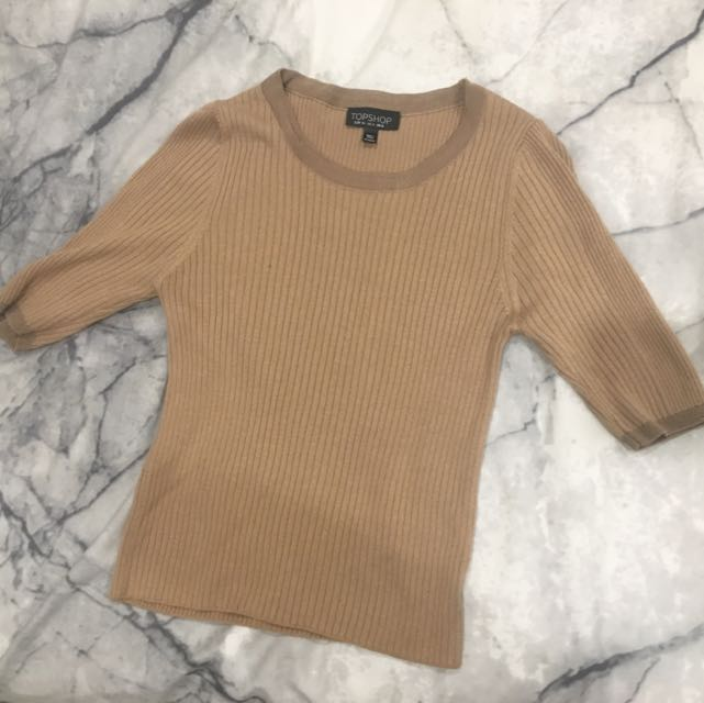 Topshop Nude Knitted Crop