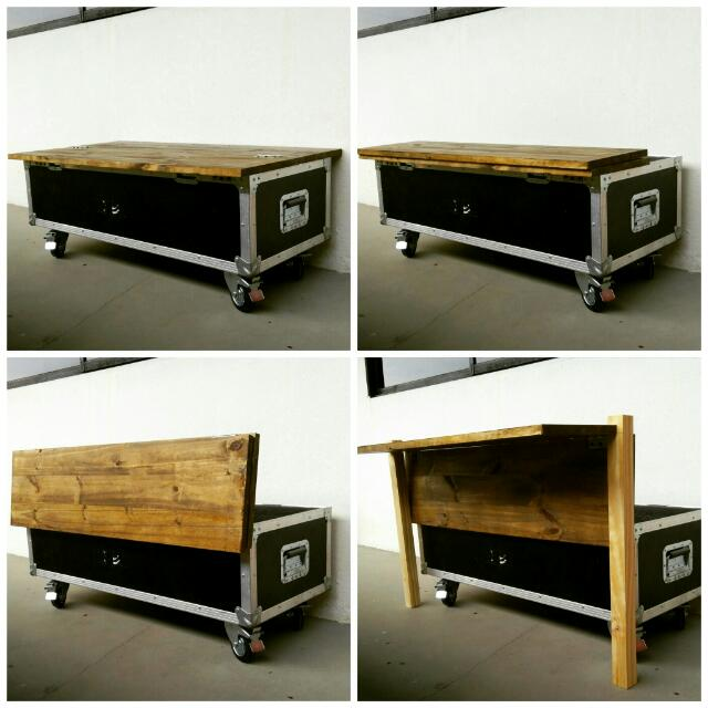Up-cycle Crate With Pallet Top Storage Coffee Table