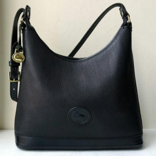 Vintage Dooney & Bourke All Weather Leather Black Hobo Bag 100% Original Pre-loved Limited Edition!