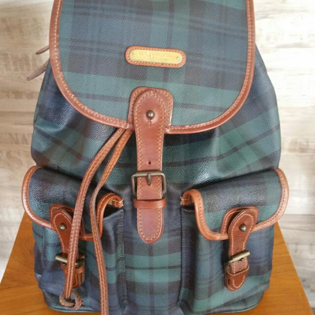 65ca37c087 Vintage Polo Ralph Lauren Plaid Leather Backpack