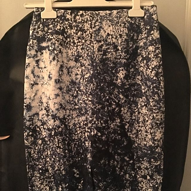 White And Blue Midi Skirt, Size 10