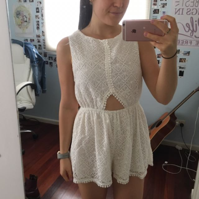 White Laced Playsuit