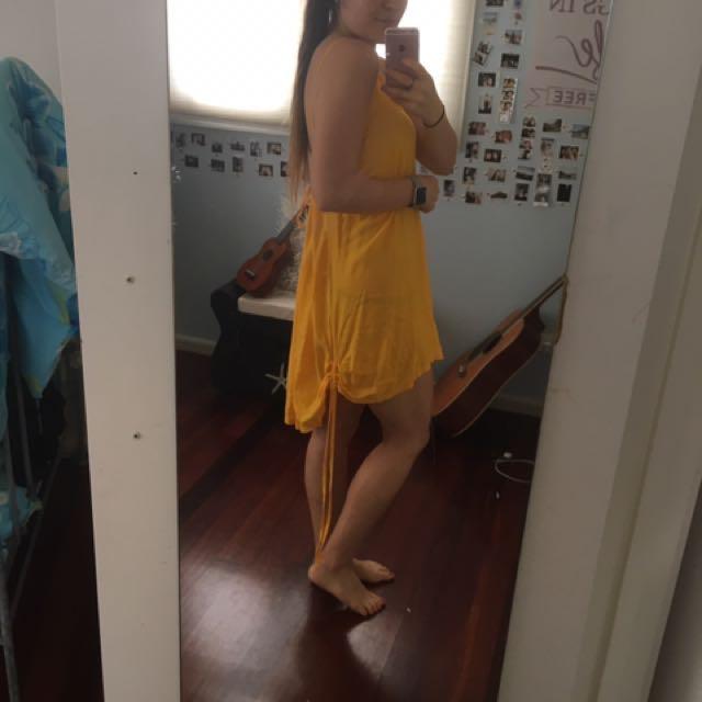 Yellow Adjustable High Low Dress