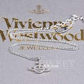 Vivienne Westwood Calliope系列密鑲閃耀水鑽土星925純銀項鍊#我單身我驕傲