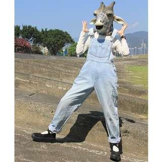 {:::Giraffe 長頸鹿人:::}_古著淺藍牛仔長吊帶褲