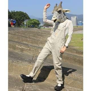 {:::Giraffe 長頸鹿人:::}_BLUEWAY古著卡其牛仔長吊帶褲