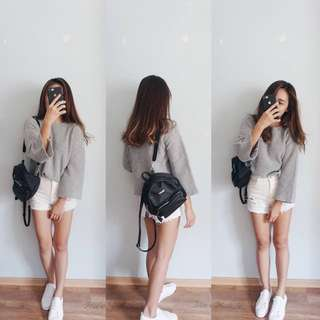Boatneck Oversized Knitted Top (White or Grey)