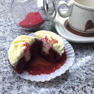 Red Velvet Cuppies With Cream Cheese Frosting