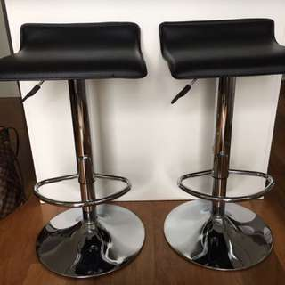 Black Faux Leather Bar Stools.