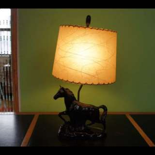 BLACK BEAUTY 1950's Ceramic Horse Lamp with Original Fibreglass Lampshade, Gloss Black Figural Table Lamp