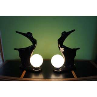 DECO DANCERS Gloss Black Ceramic Figural Lamps with Globe Light, Set of 2 Large Statement Table Lamps, 1980's does 1930's