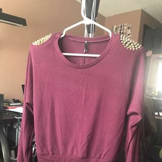 Burgundy Long Sleeve, With Shoulder Studs