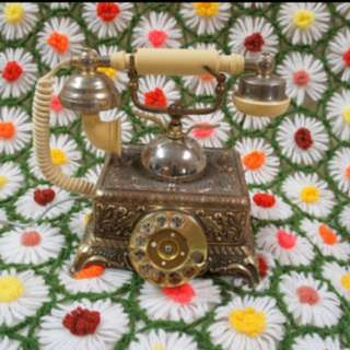 FRENCH STYLE TELEPHONE 1960's does Victorian Era Ornate Brass & Cream Rotary Phone