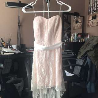 Pastel pink Lace Dress With Tail