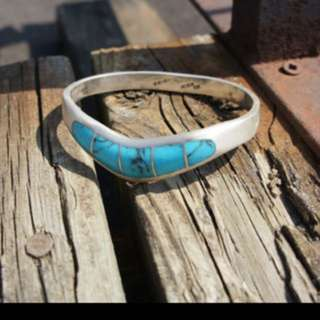 TURQUOISE CHEVRON Mexican Sterling Silver Turquoise Bracelet, Hallmark Stamped Mexico 925