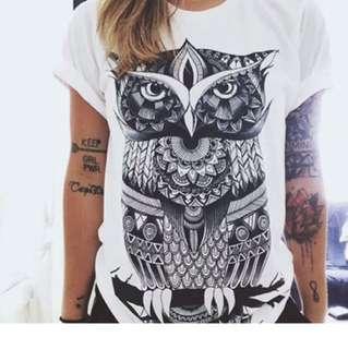 """White """"owl"""" Tshirt"""