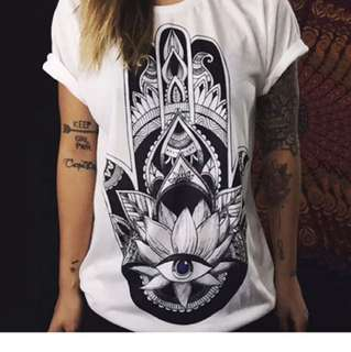 "White ""hand Of Fatima"" Tshirt"