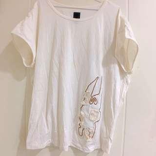 百貨公司專櫃 Gozo 兔子米黃拼接上衣