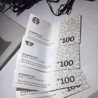 Starbucks Gift Certificates Worth PHP400