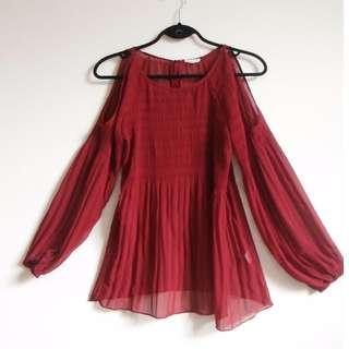 Sheer burgandy blouse