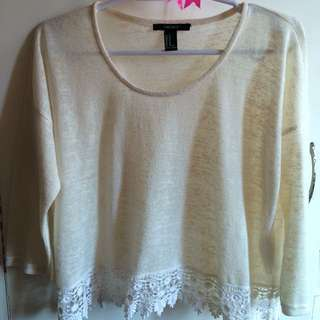 (Forever21) Off White Cotton Top