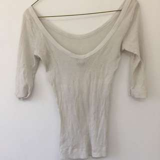 H&M Low Back White Top XS