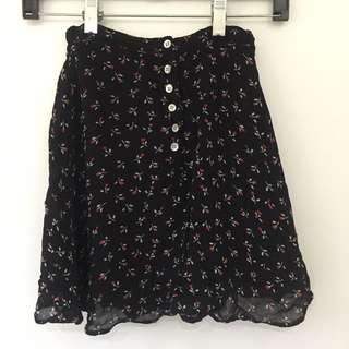 Black Floral Chiffon Skirt XS