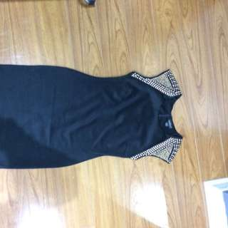 Black Dress With Studded Sleeves