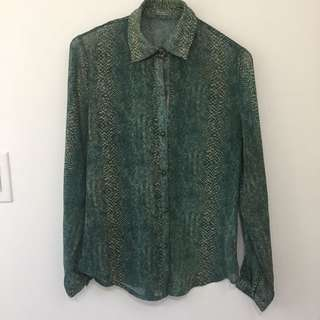 Green And Gold Chiffon Button Up