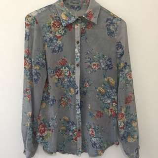 Floral Chiffon Button Up