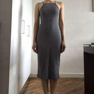 American Apparel B/W Stripes Stretch Long Dress