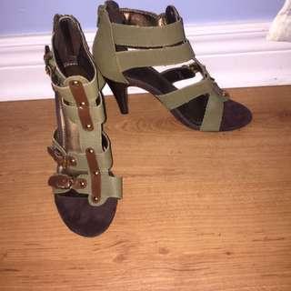 Navy Green Heels