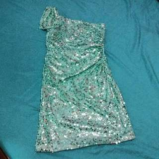 Green Viola shining Shimmering Dress