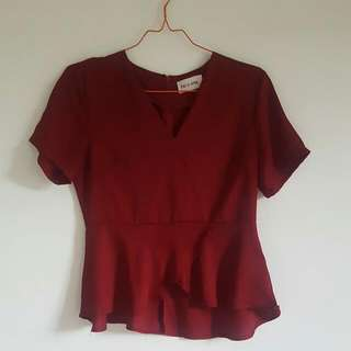 This Is April Red V-Neck Peplum Top