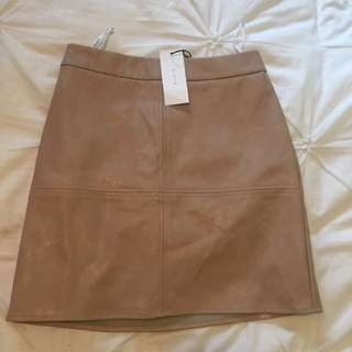 Skeike Nude Leather Skirt