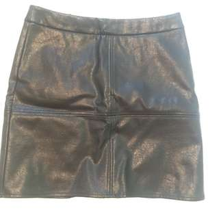 Skeike Black Leather Skirt