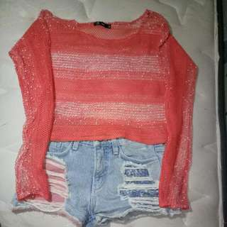 Outer Rajut Size S dan Ripped Jeans