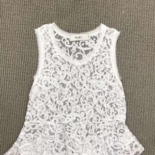 Ruby White Singlet Top