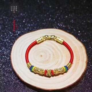 24K 999 Gold Pixiu With Handmade String Bracelet