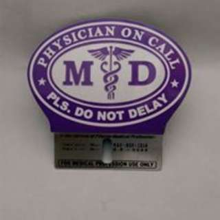 Purple MD Plate Doctor on Call Car Plate