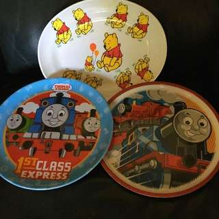 Baby/ Childrens Plates Pooh Bear & Thomas The Tank Engine