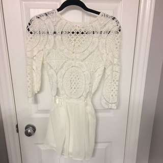 New White Crochet Romper